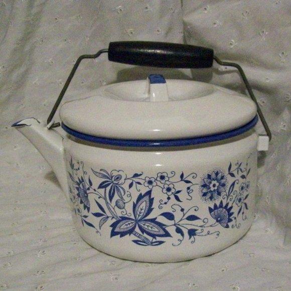 Vintage Enameled Tea Pot